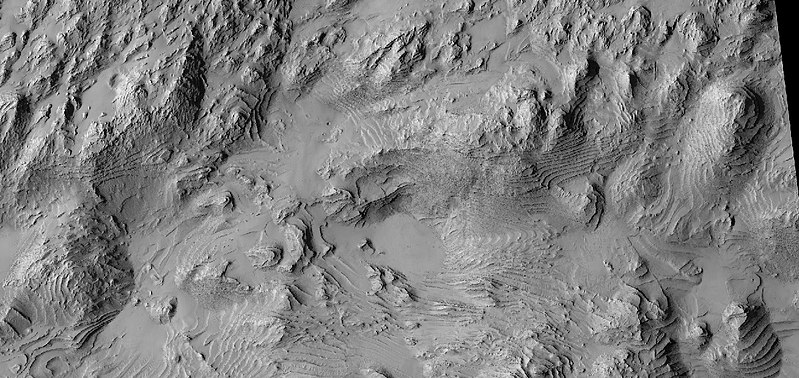 Wide view of layers in Danielson Crater Picture was taken by HiRISE under HiWish program.