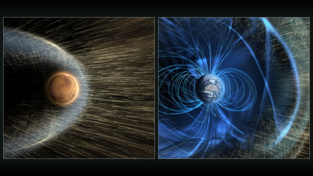 Artist's conception of how the solar wind strikes Mars, but does not reach the Earth's surface because of the Earth's magnetic field