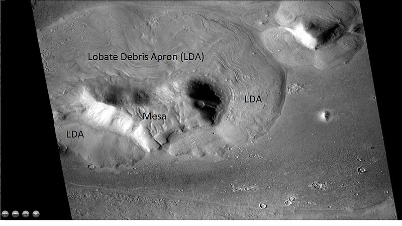 Wide view of Lobate Debris Apron (LDA) around a mesa