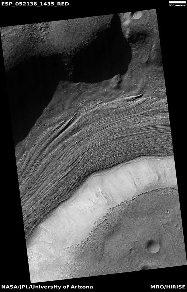 Image of gullies with main parts labeled. The main parts of a Martian gully are alcove, channel, and apron. Since there are no craters on this gully, it is thought to be rather young. Picture was taken by HiRISE under HiWish program.