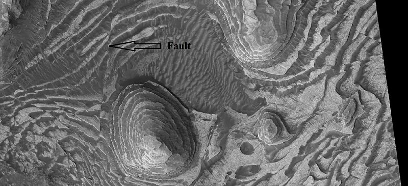 Layers and fault in Firsoff Crater