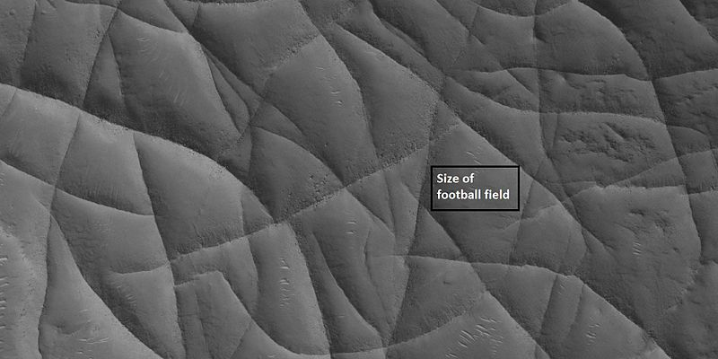 Close view of network of ridges, as seen by HiRISE under HiWish program Box shows the size of a football field.