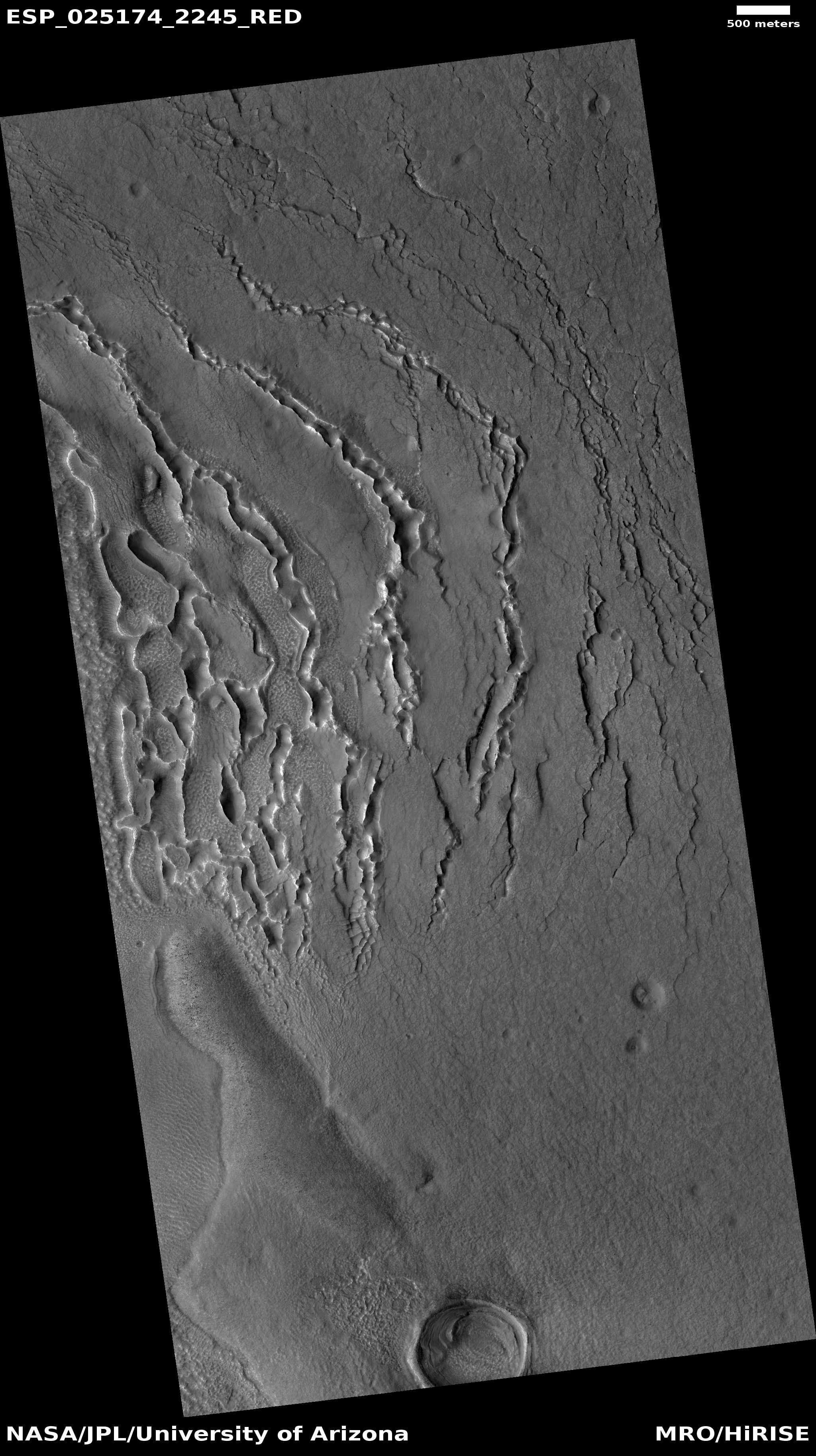 Wide view of ribbed terrain.