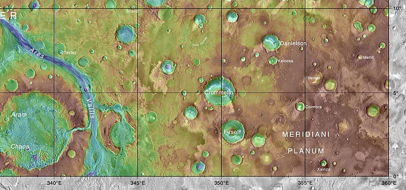 MOLA map showing Firsoff Crater and other nearby craters. Colors indicate elevations.