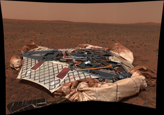 Spirit's landing site Part of Spirit's solar panel is visible in the foreground.