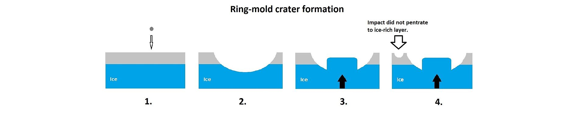 Ring-mold craters form when an impact goes through to an ice layer. The rebound forms the ring-mold shape, and then dust and debris settle on the top to insulate the ice.