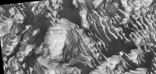 Layers on the floor of Danielson Crater taken under the HiWish program Box shows size of a football field.