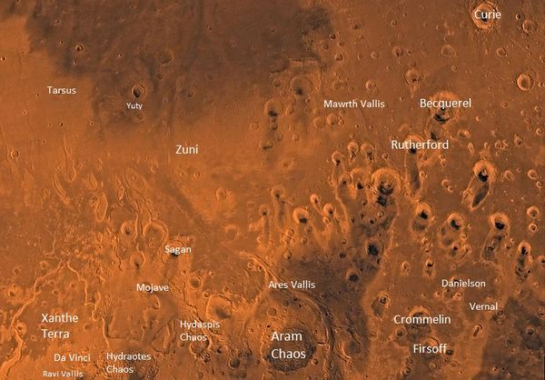 Image of the Oxia Palus Quadrangle (MC-11). The region contains heavily cratered highlands in the southeast which are intersected by several large outflow channels terminating in the relatively smooth plains of Chryse basin in the northwest.