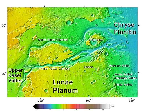 Area around northern Kasei Valles, showing relationships among Kasei Valles, Bahram Vallis, Vedra Valles, Maumee Valles, and Maja Valles. Map location is in Lunae Palus quadrangle and includes parts of Lunae Planum and Chryse Planitia.