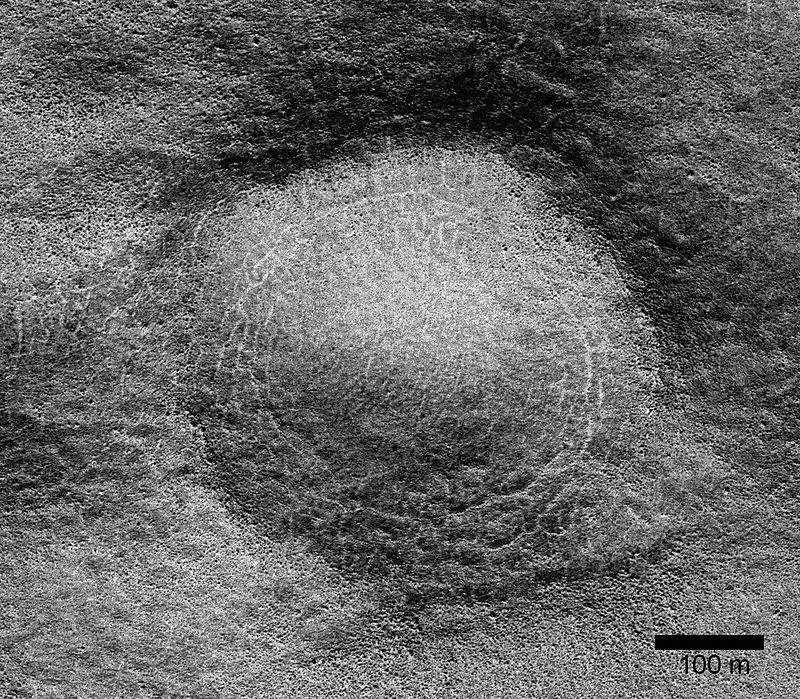 Close view of possible pingo with scale, as seen by HiRISE under HiWish program Lat: 54.7° S Long: 202.7°E (157.3 W)