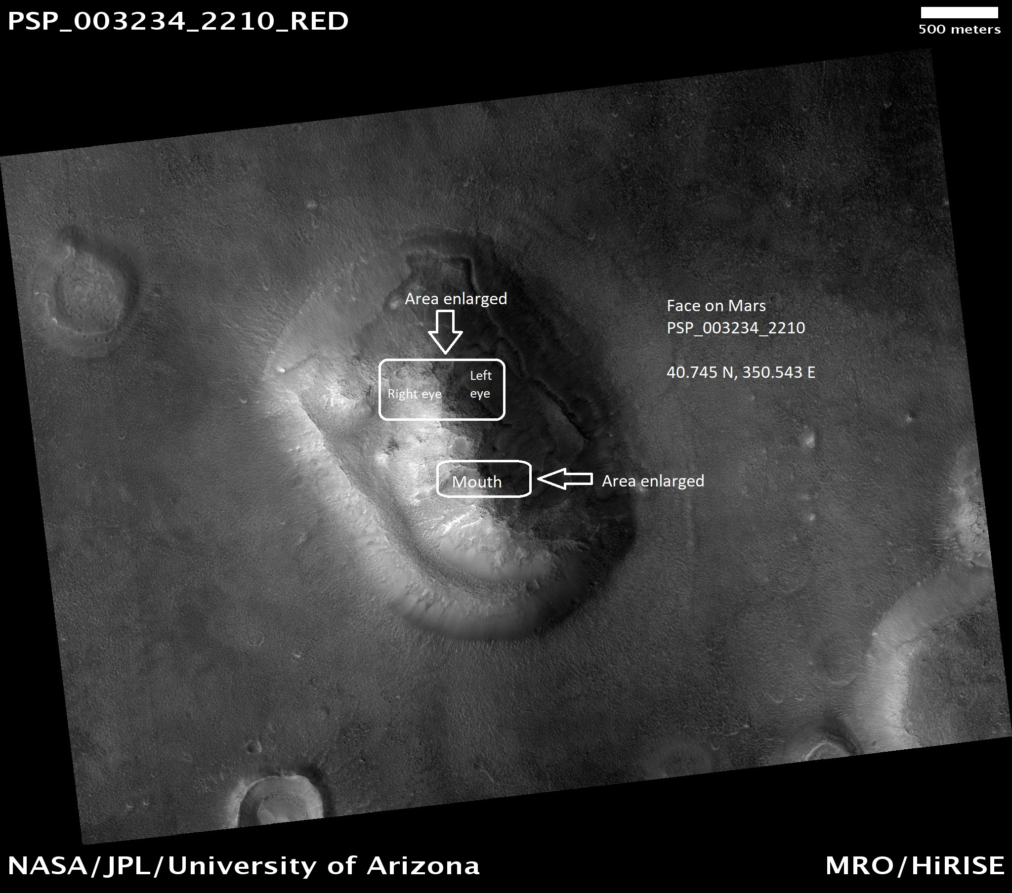 Face on Mars showing parts that are enlarged in other images. Picture was taken by HiRISE.