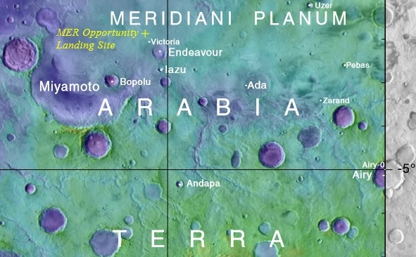 Map showing location of Opportunity and some nearby features