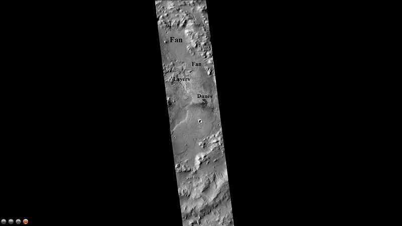 Jones Crater, as seen by CTX camera (on Mars Reconnaissance Orbiter). Regions on the floor containing layers, fans, and dunes are labeled.