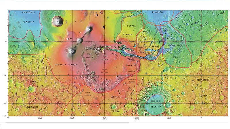 MOLA map showing boundaries for Lunae Planum and other regions. Colors indicate elevations.