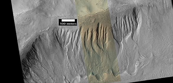 Gullies in Phaethontis quadrangle Ridges at the end of the gullies may be the remains of old glaciers.[72]