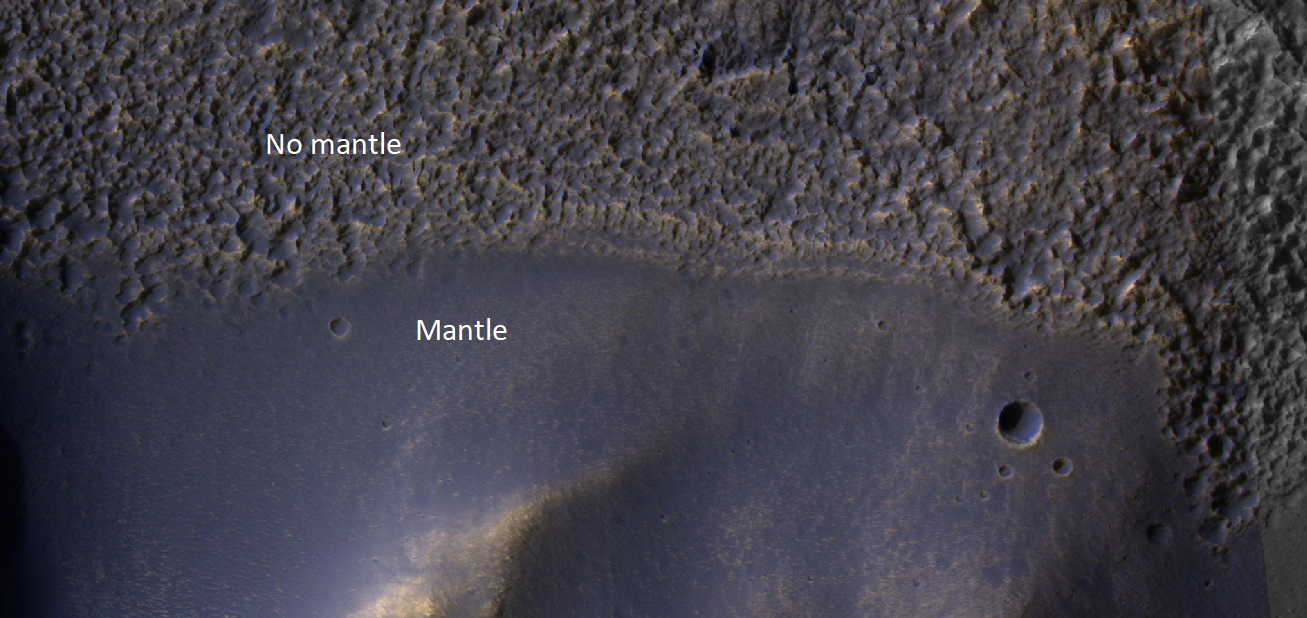 Mantle Mantle covers the surface irregularities on Mars
