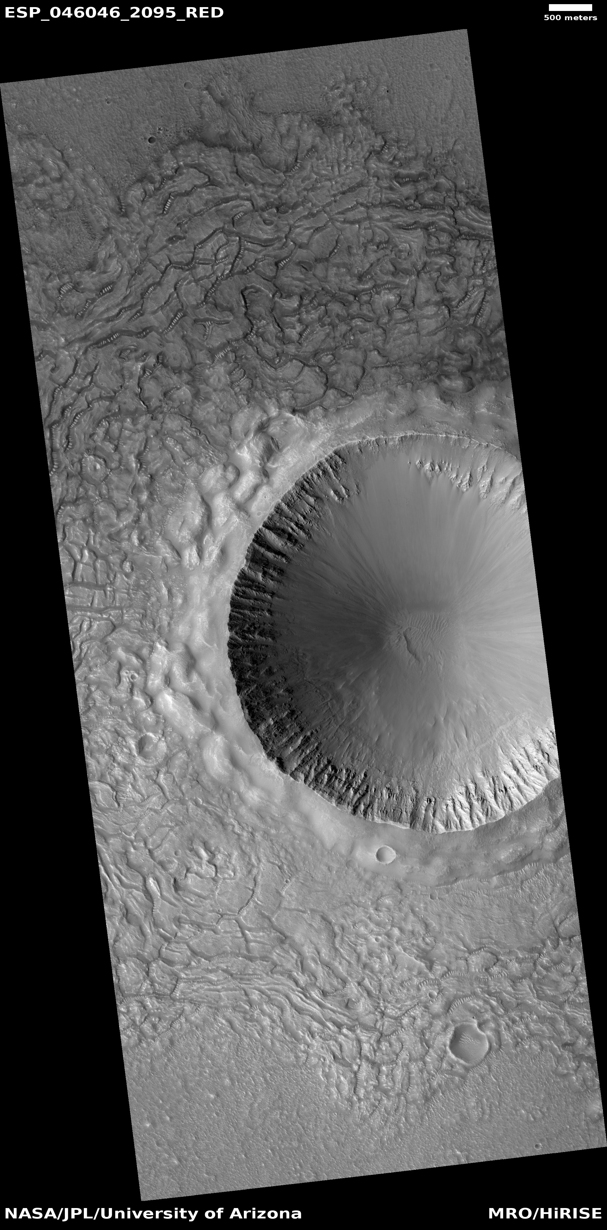 This is a fairly young crater as it still shows ejecta, layers, and a rim.